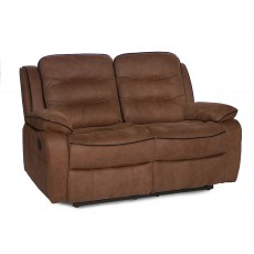 Marchesi 2 Seater Reclining Sofa Suede Look Brown
