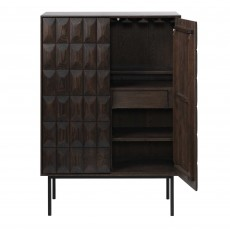 Latina 2 Door + 2 Drawer Drinks Cabinet Dark Brown