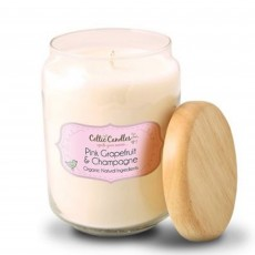 Celtic Candles Classic Pink Grapefruit & Champagne Wood Top Large Pop Jar 13cm
