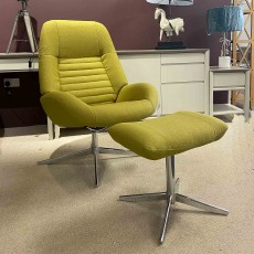 Louie Swivel Reclining Armchair With Footstool Fabric Light Green
