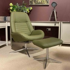 Maverick Swivel Reclining Armchair With Footstool Leather Light Green