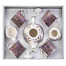 Newgrange Living Purple Thistle Bone China 7 Piece Tea Set Multi-Coloured