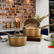 Tower Forged Aluminium Non-Stick 3 Piece Saucepan Set Gold