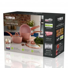 Tower Forged Aluminium Non-Stick 3 Piece Saucepan Set Rose