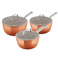 Tower Forged Aluminium Non-Stick 3 Piece Saucepan Set Copper