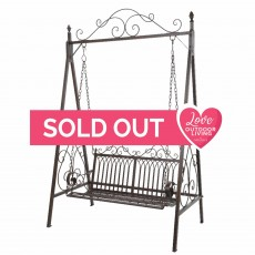 Bordeaux 2 Seater Iron Swing Bench Brown