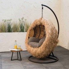 Hanging Outdoor Egg Chair Cover Raffia Brown