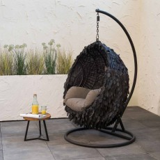 Hanging Outdoor Egg Chair Cover Raffia Black