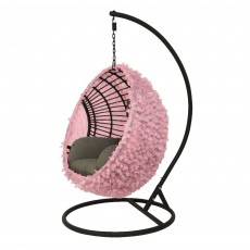 Hanging Outdoor Egg Chair Cover Raffia Pink