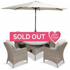 Bergen 4 Person Round Table Dining Set + Parasol Sand