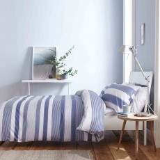 Catherine Lansfield Newquay Stripe Reversible Duvet Cover Set Blue