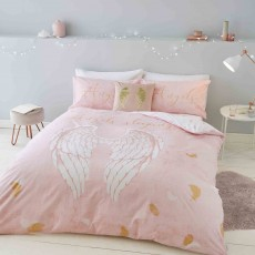 Catherine Lansfield Angel Reversible Duvet Cover Set Pink