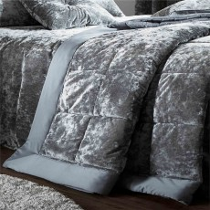 Catherine Lansfield Crushed Velvet Bedspread Silver