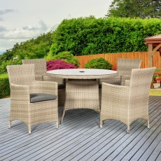 Royalcraft Lisbon Rattan 4 Person Outdoor Round Dining Table & Carver Chairs Cream