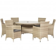 Royalcraft Lisbon Rattan 6 Person Outdoor Round Dining Table & Carver Chairs Cream