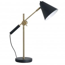 Hill Interiors Amy Brass Adjustable Desk Lamp Black