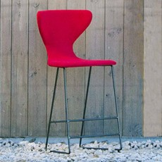 Fama Marlon Low Bar Stool Fabric With Black Legs