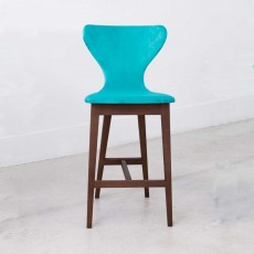 Fama Helga Low Bar Stool Fabric With Walnut Legs