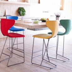 Fama Marlon Low Bar Stool Fabric With Matte Grey Legs