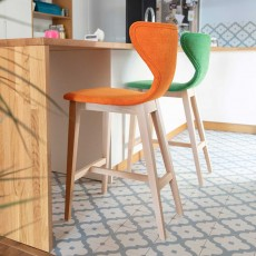 Fama Helga Low Bar Stool Fabric With Natural Legs