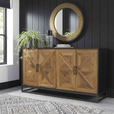 Khan 4 Door Sideboard Rustic Oak