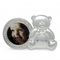 Tipperary Crystal Round Baby Photo Frame with Silver Bear