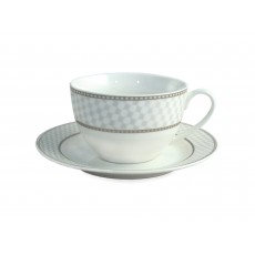 Tipperary Crystal Silver Checkers Set of 6 Bone China Teacups & Saucers
