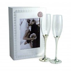 Tipperary Crystal Wedding Flute Set of 2 With Memory Box