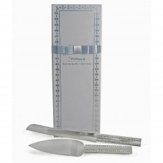 Tipperary Crystal Wedding Knife & Silver Set With Diamante & Silver Handle