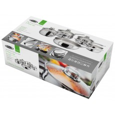 Stellar 1000 5 Piece Saucepan Set With Tempered Glass Lids