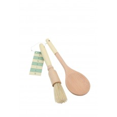 T&G Pride of Place Cream Handled Wooden Spoon & Pastry Brush Set