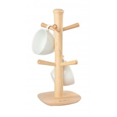 T&G Scimitar Hevea Wooden 6 Peg Mug Tree