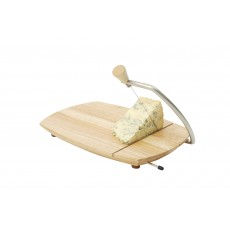 T&G Scimitar Hevea Wooden Cheese Board With Wire Cutter