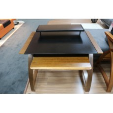 Curve Office Walnut Narrow Computer Desk With Keyboard & Monitor Shelf