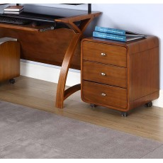 Curve Office Walnut 3 Drawer Filing Cabinet