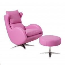 Fama Lenny Swivel & Rocking Armchair Ciervo Leather