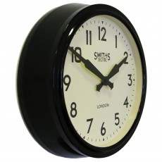 Round Retro Wall Clock Black