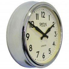 Round Retro Wall Clock Chrome