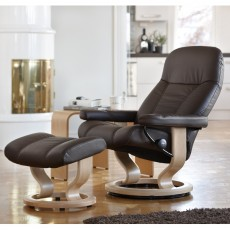 Stressless Consul Medium Chair With Classic Base + Footstool Batick Leather