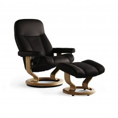 Stressless Consul Medium Chair With Classic Base + Footstool Noblesse Leather