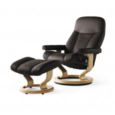 Stressless Consul Large Chair With Classic Base + Footstool Paloma Leather