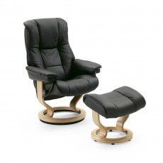 Stressless Mayfair Medium Chair With Classic Base + Footstool Batick Leather