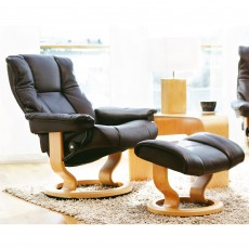 Stressless Mayfair Medium Chair With Classic Base + Footstool Noblesse Leather