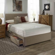Relyon Aurora Memory Deluxe Double (135cm) Padded Top 4 Drawer Divan Set Taupe