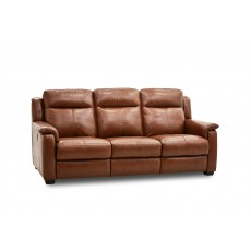 Lugano 3 Seater Manual Reclining Sofa & 2 Reclining Armchairs Category 20 Leather Cognac