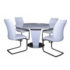 Alessandria  4-6 Person Round Dining Table & 4 White Paderna Dining Chairs