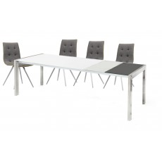 Tortina 6-10 Person Extending Dining Table & 4 Rimini Upholstered Dining Chairs