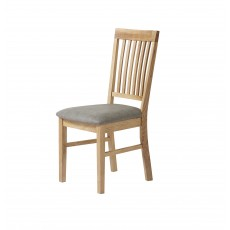 Royal Oak Slatted Dining Chair C/W Grey PU Leather Seat Pad