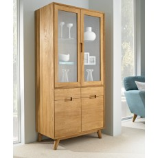 Bjorn Oak 2 Door Glass Display Cabinet