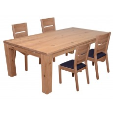 Castillo Wild Oak 6-8 Person Dining Table & 4 Slatted Dining Chair c/w Fabric Seat Pad